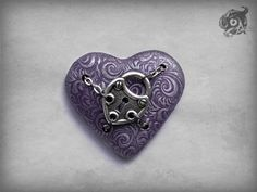 Neo victorian Gothic purple and silver plumed loveheart brooch & metal padlock charm and chains - Polymer clay and metal 5cm