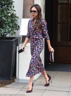 Spring is coming: Victoria Beckham looked gorgeous in colourful dress as she emerged fromSotheby's in London after attending The Nude in the XXth and XXIst Century exhibition on January 28, 2016