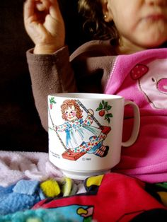 Vintage Raggedy Ann and Andy Plastic Mug