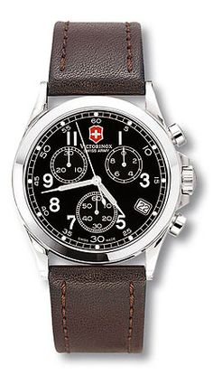 Infantry 24071 - Large Black Dial - Brown Leather Strap - Chrono