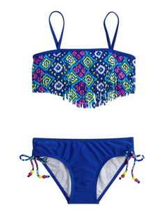 New swim is in! Shop Justice for girls' swimwear & bathing suits, all in a variety of colors & prints to match her style. Find everything from one-pieces to bikinis to tankinis. Cute Swimsuits, Cute Bikinis, Justice Swimsuits, Tween Swimsuits, Fringe Bikinis, Summer Bathing Suits, Girls Bathing Suits, Flounce Bikini, Bikini Swimsuit