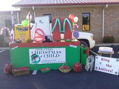 Operation Christmas Child, OCC, Trunk or Treat display.. Trying to bring awareness to what God wants us to do.  even the treat boxes were miniature shoe boxes