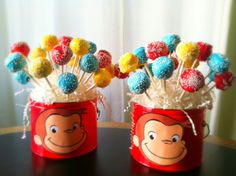 cake pops for curious george party                                                                                                                                                                                 Más
