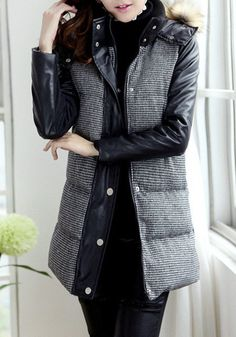 Faux Leather Puffer Coat - Features Faux Leather Sleeves Coat