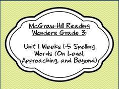 McGraw-Hill Reading Wonders Grade 3: Unit 1 Weeks 1-5 Spelling Words