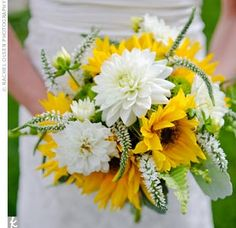 white dahlias, yellow sunflowers and white veronica bouquet Yellow Bouquets, Sunflower Bouquets, Yellow Flowers, Sunflower Weddings, Sunflower Flower, Orange Roses, Yellow Sunflower, Fake Flowers, Dahlia Bouquet