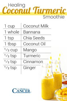 to make a coconut turmeric smoothie? Check out this quick and easy recipe on how to make a healing coconut turmeric smoothie. Remember to add this spice to your grocery list, include it in your nutrition plan, and enjoy the far-reaching health benefits of Smoothie Curcuma, Turmeric Smoothie, Healthy Smoothies, Healthy Drinks, Smoothie Recipes, Healthy Eating, Healthy Juices, Juice Recipes, Turmeric Health Benefits