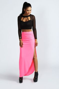 Neon Colors For Hot Summer 2013, Lorraine Neon Rouched Jersey Maxi Skirt
