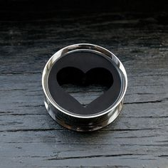 Hey, I found this really awesome Etsy listing at https://www.etsy.com/listing/181128420/heart-plugs-black-stainless-steel-tunnel