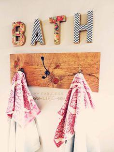 DIY Bathroom Decor Ideas for Teens - Towel Rack - Best Creative, Cool Bath Decorations and Accessories for Teenagers - Easy, Cheap, Cut. Diy Bathroom Decor, Bathroom Kids, Kids Bath, Bathroom Storage, Bathroom Towels, Bathroom Interior, Small Bathroom, Decorating Bathrooms, Bathroom Organization