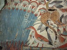 Ancient Egyptian Tomb Art detail, Nebamun hunting in the marshes, showing reeds, birds and a feral cat, painting from the tomb-chapel of Nebamun, accountant in the Temple of Amun (Karnak), circa 1350 BC, Ancient Egypt, panel in the British Museum, London WC1.