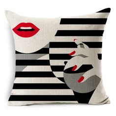 Ababalaya Elegant Women OL Lipstick Red Lips Nail Polish Stripe Cotton Linen Throw Pillow Case Cushion Cover Home Sofa Decorative 18 X 18 Inch, Style 3 Sofa Throw Pillows, Throw Pillow Cases, Cushions On Sofa, Pillow Covers, Rustic Decorative Pillows, Decorative Pillow Cases, Home Textile, Decoration, Dekoration
