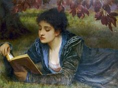 """The only important thing in a book is the meaning that it has for you."" –W. Somerset Maugham. Girl Reading 1879 by Charles Edward Perugini, Italian born English painter of the Victorian era."
