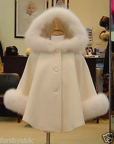 Children's Ivory Cashmere Hooded Coat White Fox Fur Trim Beautifully Canadian - The trim on the hood and cuffs are made from luxurious Fox fur. Teen Fashion Outfits, Kids Outfits, Kids Fashion, Fashion Dresses, Fashion Coat, Fall Fashion, Cute Dresses, Girls Dresses, Dresses For Children