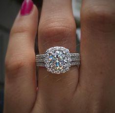 1.50 Carat Round Dia 1.50 Carat Round Diamond Engagement Ring Wedding Band Bridal Set 14K White Gold #aonebianco