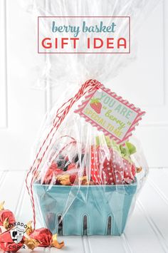 """Berry Basket Gift idea and free printable """"You are Berry Special"""" Tags... cute"""