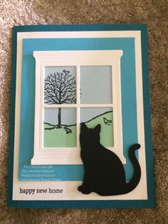 Happy New Home! – Always Up Late Stampin Card Making Tutorials, Making Ideas, Congratulations New Home, Cat Cards, Greeting Cards, Sympathy Cards, New Home Greetings, Pop Out Cards, Housewarming Card