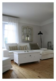 Living Room. White, Grey, Black, Chippy, Shabby Chic, Whitewashed, Cottage, French Country, Rustic, Swedish decor Idea.. ***Pinned by oldattic ***.