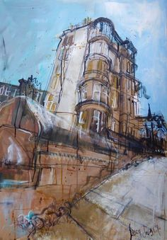 Rothesay Terrace from Douglas Gardens Mixed Media, 59 x 2017 New work ready for my solo show at Gallery TEN in the West End, Edinburgh - October to November Architectural illustration Landscape Tattoo, Landscape Sketch, Landscape Artwork, Cool Landscapes, Urban Landscape, Watercolor Landscape, Abstract Landscape, A Level Art Sketchbook, Building Art