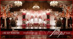 Tulips event - Best Pakistani wedding stage decoration flowering for Mehndi walima barat stages décor services provider in Lahore Pakistan. Wedding Stage Decorations, Wedding Stage Design, Red Rose Wedding, Crystal Wedding, Pakistani Wedding Stage, Mehndi Stage, Wedding Gate, Best Wedding Planner, Walima