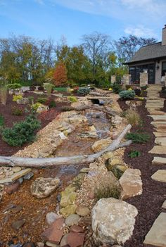 Stream Landscape Design Ideas, Pictures, Remodel and Decor Backyard Stream, Landscape Design, Stepping Stones, Pond, Design Ideas, Pictures, Outdoor Decor, Home Decor, Photos
