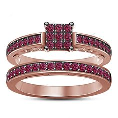 Pinpoint Setting Frame Style Pink Sapphire 925 Silver Engagement Bridal Ring Set #aonejewels