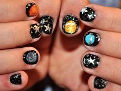 Solar System Nails Solar Nails, Snails, Solar System, Nail Ideas, Hair And Nails, Nail Art, Glamour, Makeup, Beauty