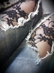 patterned tights under ripped jeans