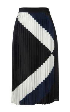 Maritime Border Pleated Skirt by Tibi for Preorder on Moda Operandi