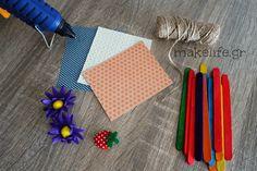 υλικά για τις χειροποίητες κορνίζες Craft Stick Crafts, Diy Crafts For Kids, Flower Step By Step, Activities, Tableware, Flowers, School Stuff, Alice, Barn