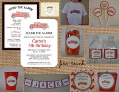 Vintage FIRE TRUCK Invitation multiple styles by BabadooStationery, $15.00