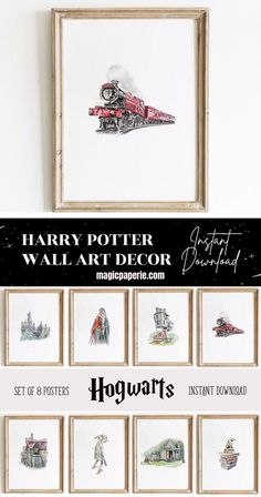 Harry Potter Wall Art Decor ⬇⬇⬇ It's an INSTANT DOWNLOAD JPG! Decor your favorite room with this set of 8 Hogwarts posters. Harry Potter Wall Art DIY Prints. Printable posters for a room Theme. Magical Harry Potter Wall Art that you can print yourself, save money and time. Hogwarts Castle, Dumbledore with Phoenix, The Burrow, Hogwarts Express, Diagon Alley, Dobby Elf, Hagrid's Hut, Sorting Hat. #harrypotterprints #harrypotterwallart #harrypotterroom #harrypottercrafts #harrypotterdecor Harry Potter Wall Art, Harry Potter Poster, Harry Potter Decor, Harry Potter Quotes, Harry Potter Fandom, Hogwarts, Wall Art Decor, Diagon Alley, Sorting Hat