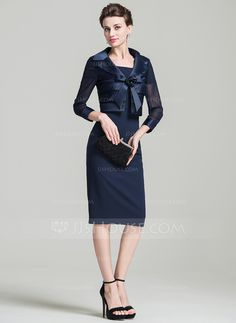 [US$ 100.99] Sheath/Column Scoop Neck Knee-Length Mother of the Bride Dress With Beading (008080189)