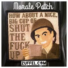 This is the greatest Christmas Gift for him. Get it at http://zuffel.com/collections/morale-patches/products/cup-of-full-color  Bacon patch usa morale morale patch funny funny patches tacticool military patch embroidered patch tactical gear merica America usa team America velcro zuffel military funny patch