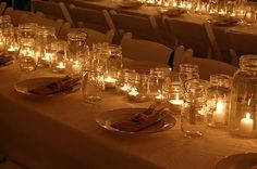 Tea Lights in Mason Jars = STUNNING centerpiece