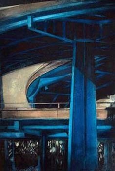 Art: Blue FlyOver : Monoprint : Jenny Robinson