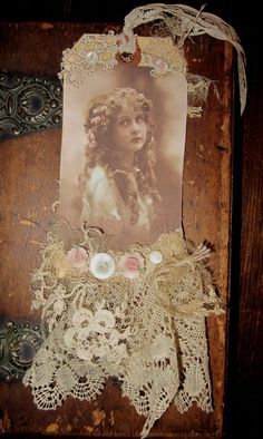 Vintage Lace Collage Edwardian Girl Embellished Tag. $19.99, via Etsy.