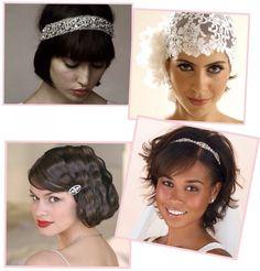 Penteados para noivas de cabelo curto.