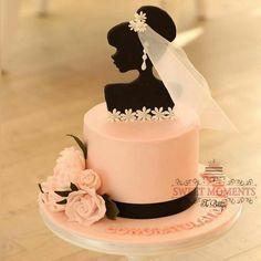 Gorgeous Cakes, Pretty Cakes, Amazing Cakes, Fondant Cakes, Cupcake Cakes, Gateau Baby Shower, Silhouette Cake, Bride Silhouette, Brides Cake
