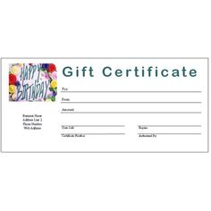 Birthday Gift Certificate Template Word    Birthday