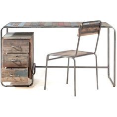 Brooklyn Finest Industrial Desk with Drawers (€805) ❤ liked on Polyvore featuring home, furniture, desks, desk, tables, decor, colored furniture, industrial home furniture, industrial desk and industrial furniture