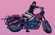 Video games illustrator, talented artist.He often represents powerful ladies bikers. He is inspired by motorcycles and female beauty: Robert Sammelin art.