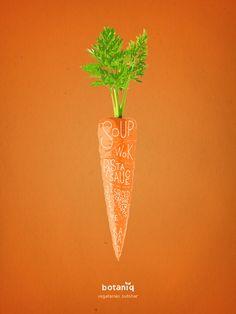 Botaniq Vegan & Vegetarian Restaurant: Carrot Vegetarian butcher. Advertising Agency: Hjaltelin Stahl, Copenhagen, Denmark Art Director: Karl Alexander Veng Illustrator: Lauritz Hansen Published: December 2015