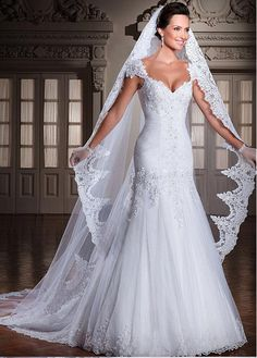 11bc42205d3e Elegant Tulle Sweetheart Neckline Dropped Waistline A-line Wedding Dress  With Beaded Lace Appliques Tulle