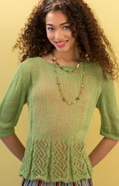 Flared Lacy Top Free Knitting Pattern from Red Heart Yarns