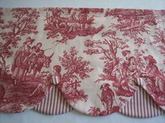 """Red on Ivory Waverly Country Life Toile And Stripe Lined Layered Scalloped Valance With Covered Buttons~NEW ITEM! I made this from a top quality Waverly decorator fabric~""""Country Life"""" Toile, color Garnet. French Country Kitchens, French Country Decorating, Southern Decorating, Toile Curtains, Swag Curtains, Bedroom Curtains, Country Valances, Red Rooms, Trendy Bedroom"""