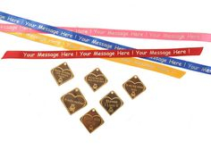 Personalised Tag and Ribbon collection Personalised Teddy Bears, Personalized Tags, Ribbons, Messages, Collection, Personalized Teddy Bears, Bias Tape, Custom Labels, Personalised Signs