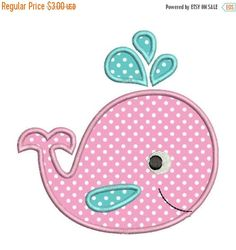 SALE 65% OFF Applique Whale Baby Cute II Machine Embroidery Designs 4x4 & 5x7 Instant Download Sale