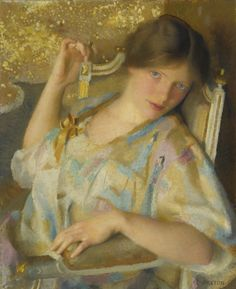 Nonchalance. William McGregor Paxton (American, 1869-1941). Oil on canvas. In Nonchalance, Paxton focuses on his beautiful subject in repose, bringing the viewer into an exotic and elegant scene. The abstract patterned backdrop against which the...