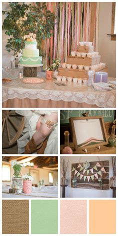 sage, pink, peach, burlap & lace rustic wedding theme. Perfect for a country wedding.